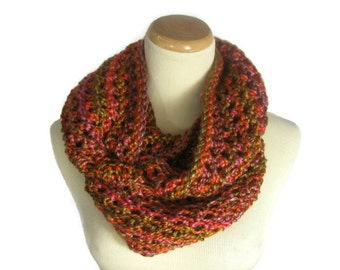 Knit Infinity Scarf, Orange Scarf,  Bulky Scarf, Cowl, Knit Cowl, Circle Scarf,Winter Scarf, Women, Multicolor, Bulky Scarf