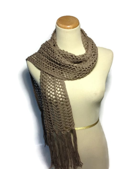 Taupe Scarf, Knit Scarf, Lacy Scarf, Hand Knit Scarf Brown, Scarf Fiber Art, Gift Idea For Her, Fashion Accessory, Women Accessory