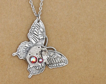 steampunk jewelry necklace TIME OF CHANGES antique silver butterfly steampunk watch movement necklace