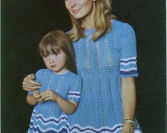 Crochet Pattern - Mum and daughter - Crochet dresses - sizes 20/22/24 in Child and 32/34/36 in Womens