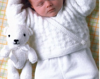 Knitting Pattern - Baby//Child Sweater, Cardigan and Teddy Bear - 12 - 22 ins chest sizes - Prem sizes included
