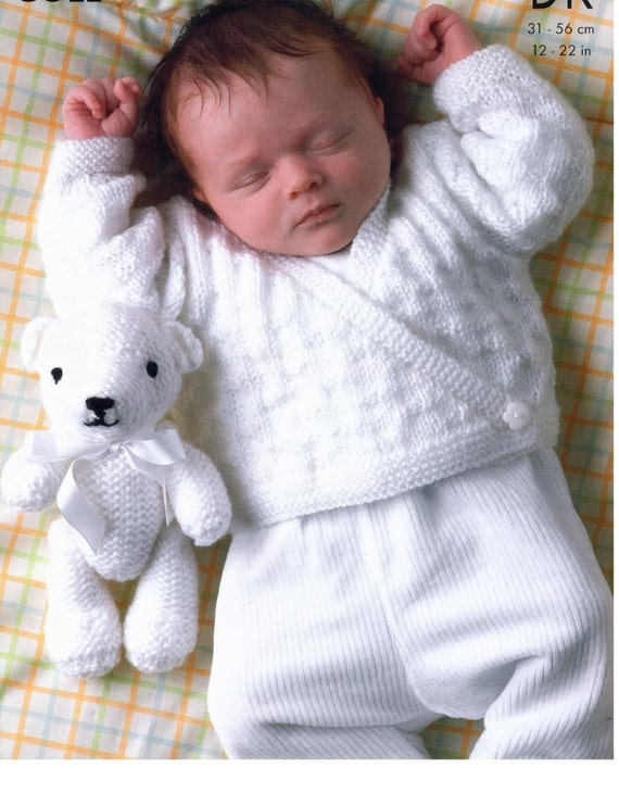 Knitting Pattern For Baby Teddy : Knitting Pattern Baby//Child Sweater Cardigan and Teddy