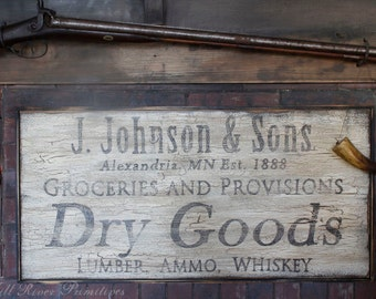 Personalized Early Antique Reproduction Primitive Wooden DRY GOODS Sign
