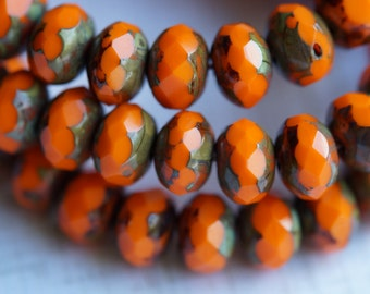6x8mm Rondell - Opaque Orange Picasso - Fire Polished Czech Glass - Bead Soup Beads