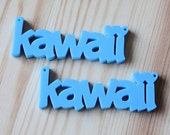 2 x Laser cut acrylic Kawaii pendants