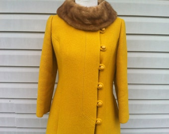 ON SALE NOW 1960s Mustard Yellow Womens Coat with Mink Fur Collar