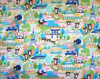 Japanese Anime Tokyo Bears in Turquoise 1/2 yard