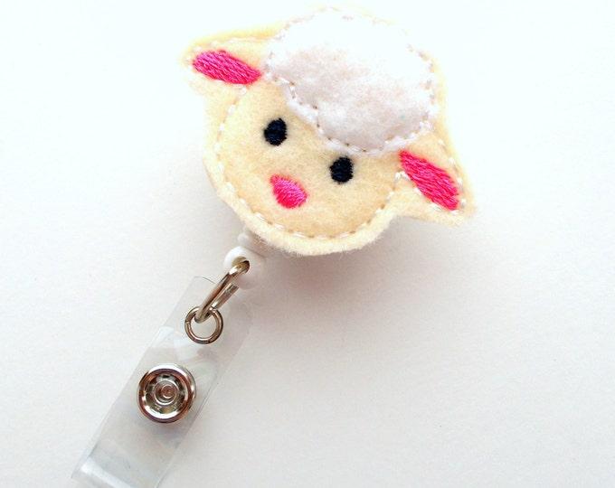 Sweet Lamb - Retractable ID Badge Reel - Name Badge Holder - Cute Badge Reel - Nurse Badge Holder - Nursing Badge Clip - Feltie Badge