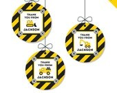 Construction Party - Personalized DIY printable favor circles