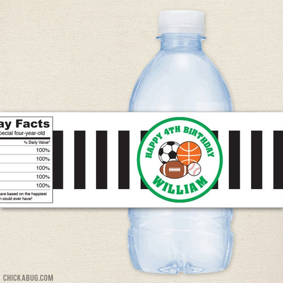 Personalized Sports Bottle Labels: 100% Waterproof Personalized Water