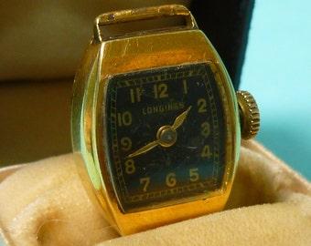 STORE CLOSING SALE 18k Ladies Longines Watch Black Dial 30's Art Deco