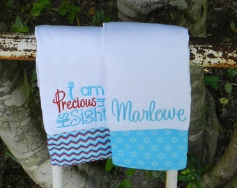 Personalized monogram burp cloth set,precious in his sight burp cloth,baby shower gift