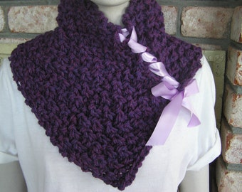 Berry Heather Cowl/Neckwarner with Ribbon
