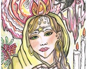 GODDESS WITHIN, Art Print, Watercolor, Colored Pencil, pen and Ink, Drawing, Illustration, Gyspy, Goddess, Divine Feminine, Healer, Wiccan