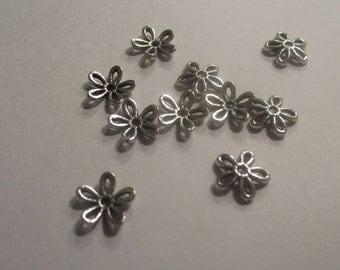 Destash Flower Bead Caps Silver Plate 11mm set of 10
