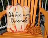 """Porch pillow WELCOME FRIENDS PUMPKIN 20"""" (40x50cm) outdoor Halloween Thanksgiving autumn fall decor Crabby Chris Original"""