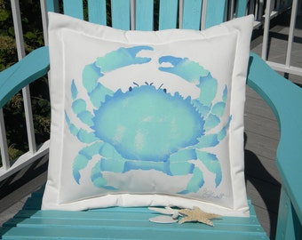 "Outdoor pillow HAWAIIAN CRAB 20"" Splendid Pebble Crab kumini claws ocean coastal beach SCUBA Crabby Chris Original"