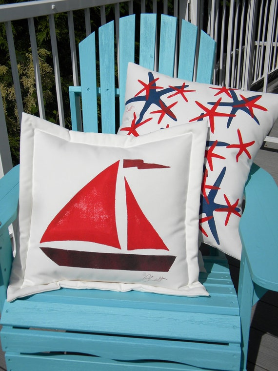 "Outdoor SAILBOAT PILLOW painted 20"" nautical sailing yacht boating beach coastal seashore deck patio hammock cabin Crabby Chris Original"