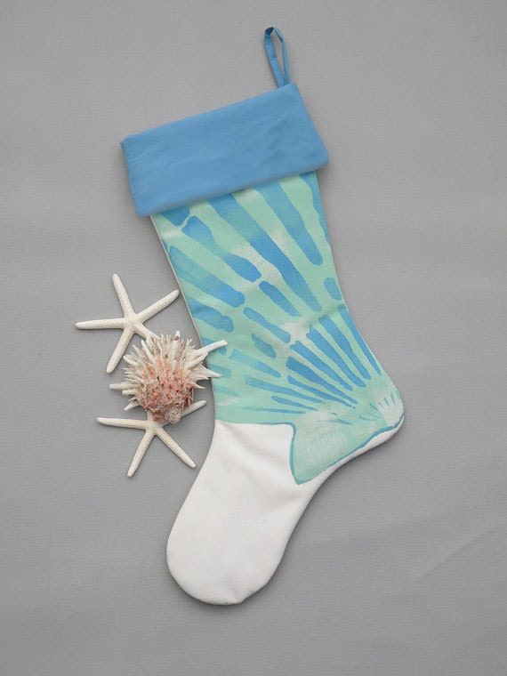"Christmas STOCKING SCALLOP shell blue aqua 24"" white coastal beach seashell shelling beachcombing ocean Crabby Chris Original"