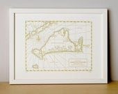 Martha's Vineyard, Letterpress Map Art Print (Mustard)