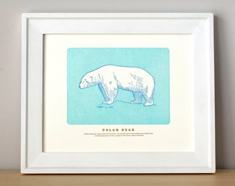 Polar Bear, Letterpress Print