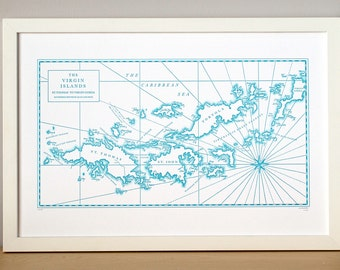 The Virgin Islands, Letterpress Map Print (Aqua)