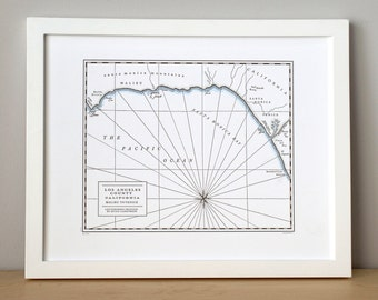 Los Angeles County, Malibu to Venice, Letterpress Printed Map