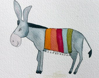 Donkey with Mexican blanket, original watercolor, grey donkey, colorful, Mexico, children;s art, simple, whimsical