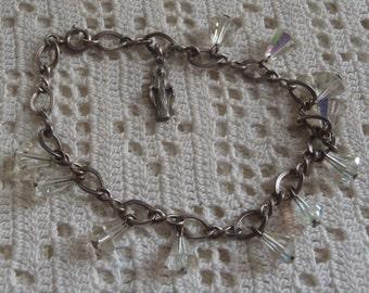 Vintage Bracelet Religious Madonna Sterling Medal Crystal Beads