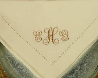 4 Monogrammed Napkins in the Elegant Font