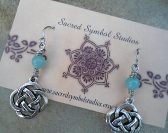 Gift for Girlfriend Best Friend Gift Celtic Knot Dangle Earrings  Celtic Jewelry Anniversary Amazonite  Pagan Jewelry Celtic Jewelry Lovers