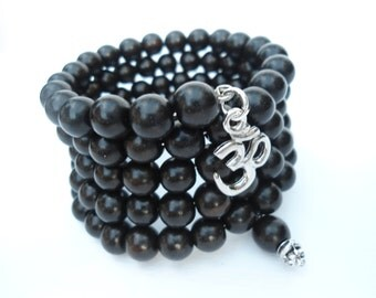Aum Mens Mala Bracelet, 108 Bead Mala,Mens Mala, Ebony Bracelet,Mens Yoga,Man's Yoga Gift,Meditation Inspired, Yoga Inspired Bracelet OM Aum