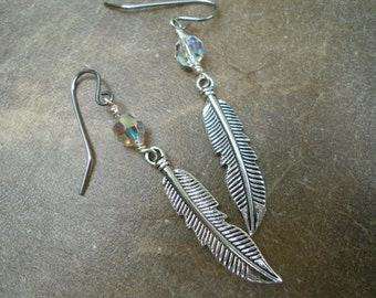Sparkly Crystal Elegant Bohemian Silver Feather Earrings Swarovski Crystal  Feather Earrings BOHO Dangle Feather Earrings Tribal Sparkle