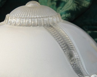 3 Hole Ceiling Fixture Glass Cream With Hobnail Edge Beautiful 50's
