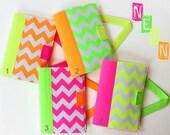 Neon Chevron Crayon Artist Case with the option to personalize, Art wallet, Crayon wallet, Crayon holder, Coloring bag, Crayon organizer