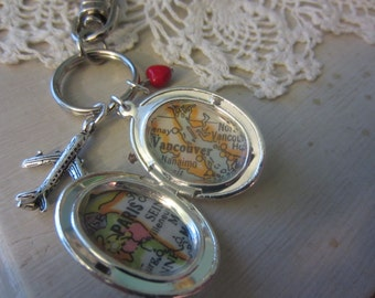 Custom 2 Maps Oval Silver Locket OR Keychain