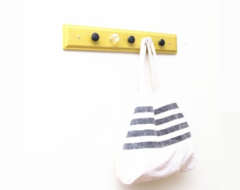 Mustard Modern Painted Scarf Rack. Bag Organizer. For the Home. Summer Trends. 5 hook. Yellow. Fresh Finds.