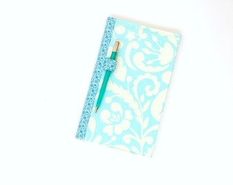 Fabric covered notebook, journal composition notebook, reusable cover, turquoise blue, women travel diary, gift for her