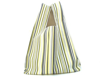 Market tote bag, ecofriendly reusable shopping bag, carry all, grey yellow stripes, book bag, grocery bag, cotton tote, shopper