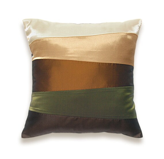 cream beige rust brown olive green pillow cover