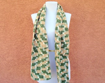 Sage Butter Scarf for Men or Women, - Yellow and Sage Green Scarf -  Crochet Scarf - Crocheted Scarf - Thick, Soft, Warm, Winter Scarf