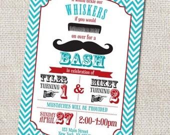 Mustache Birthday invitation, Mustache Party invitation, Custom Printable, chevron birthday invitation, red, blue