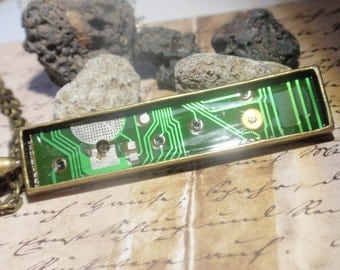 Electronic Circuit board necklace on bronze chain