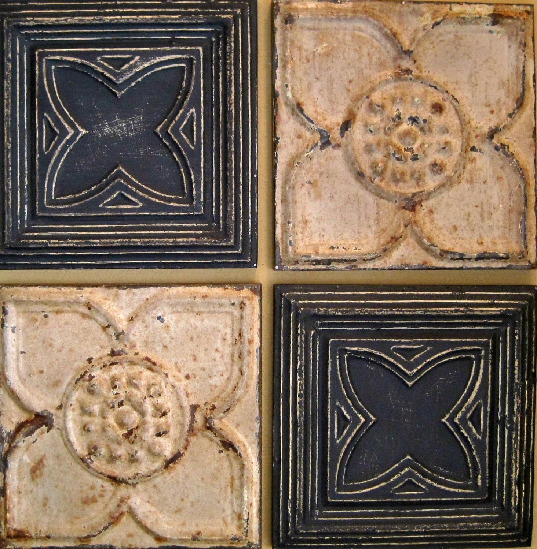 All 4 12 Antique Ceiling Tin Tiles Circa 1900 Black