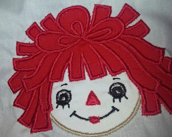 Custom Made Embroidered Raggedy Ann T-shirt