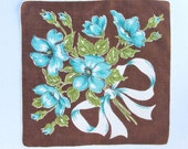 Handkerchief Brown Turquoise White Bow Vintage