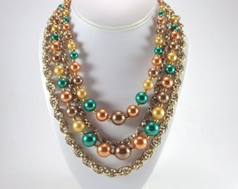 Necklace, Gold Tone Chains, Colored Beads, Vintage
