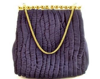30s Evening Bag, Blue Crepe Fabric, Vintage, Wedding
