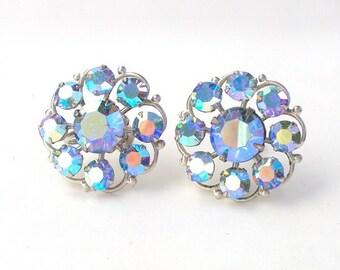 Designer Earrings Cluster Blue Rhinestone Large Screw Back Vintage