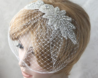 Bridal Birdcage Veil  with detachable Crystal rhinestone applique (2 items) - 03